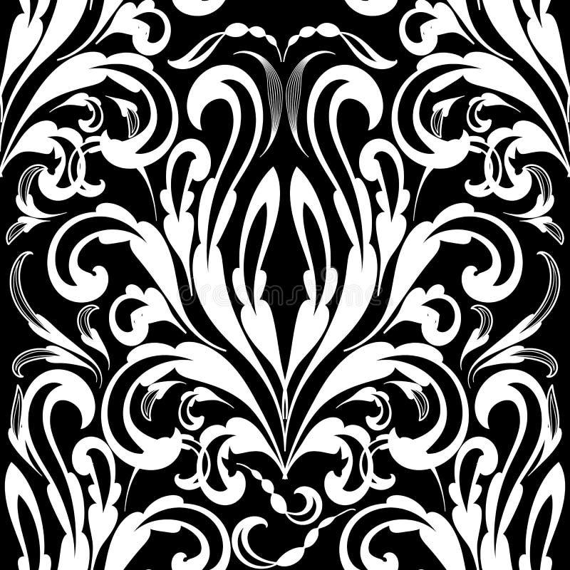 巴洛克式的黑白无缝的样式 传染媒介锦缎backgrou 向量例证