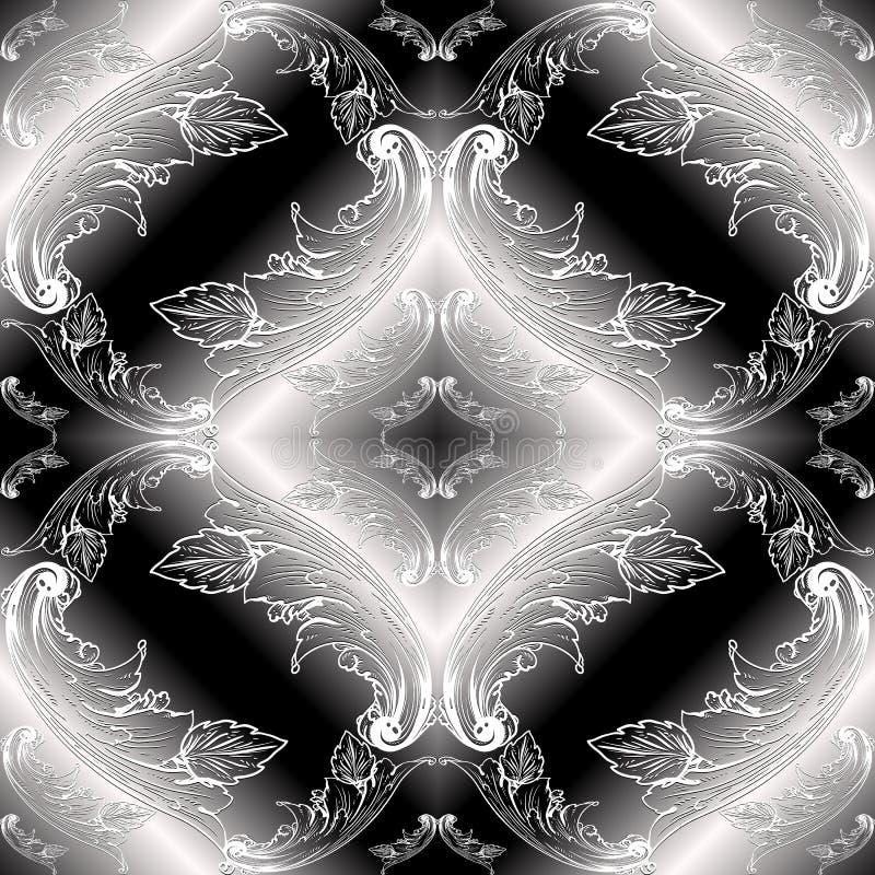 巴洛克式的黑白3d无缝的样式 传染媒介花卉moder 库存例证