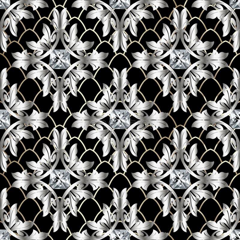 巴洛克式的3d传染媒介无缝的样式 与华丽金刚石的葡萄酒古色古香的花卉银色锦缎装饰品 现代织地不很细鞋带栅格 向量例证