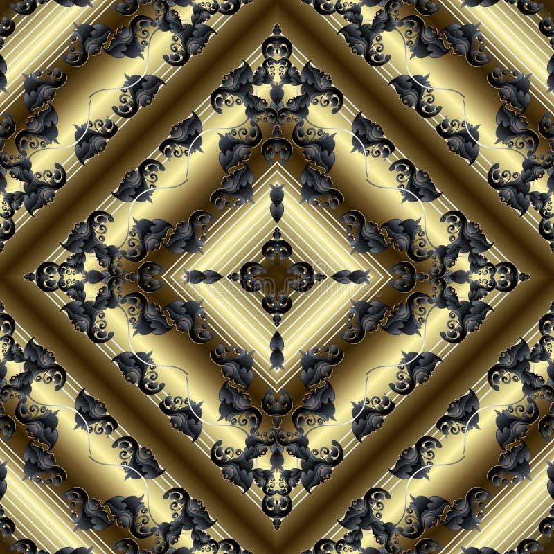 巴洛克式的3d传染媒介无缝的样式 几何镶边表面金背景 与葡萄酒花的锦缎织地不很细富有的装饰品 向量例证
