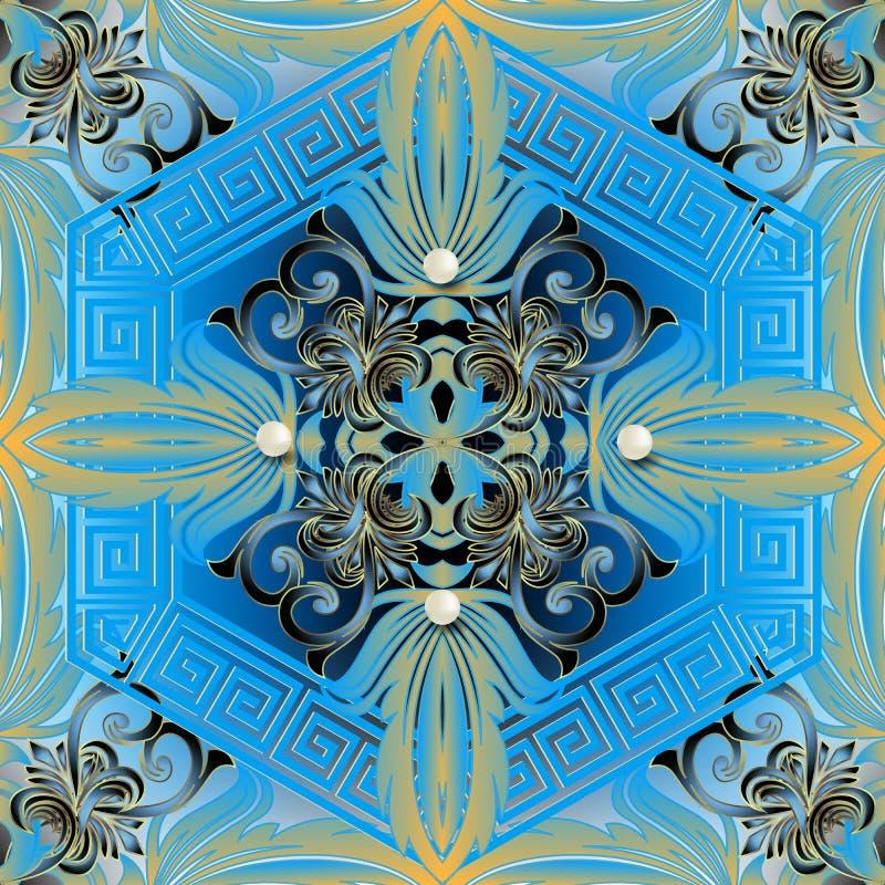 巴洛克式的3d无缝的样式 传染媒介锦缎发光的背景 与3d珍珠,葡萄酒蓝色花,叶子的首饰墙纸, 向量例证