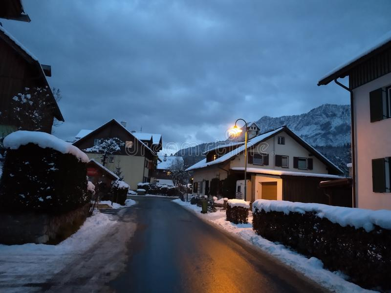 巴特戈伊瑟恩,Hallstatt在晚上 奥地利 分支冷杉雪树型视图冬天 免版税库存图片