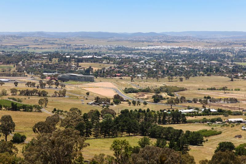 巴瑟斯特-从登上全景的NSW澳大利亚视图 免版税库存图片