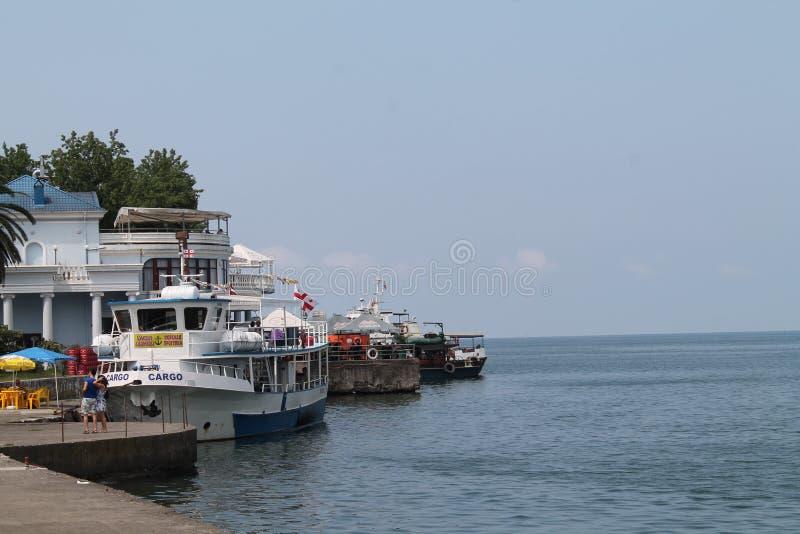 巴统 佐治亚 造船厂 码头 海 黑海 免版税库存照片