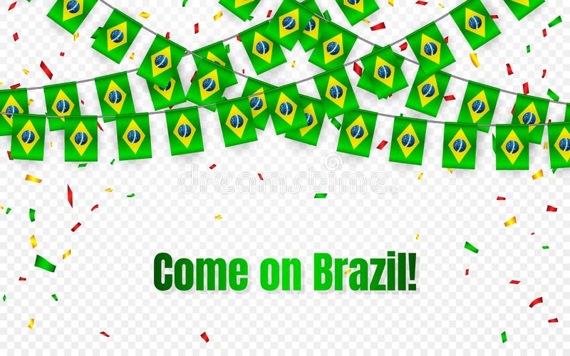巴西与五彩纸屑的诗歌选旗子在透明背景,庆祝模板横幅的,传染媒介例证吊旗布 库存例证