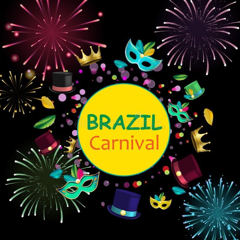 巴西与颜色面具和烟花的狂欢节背景 皇族释放例证