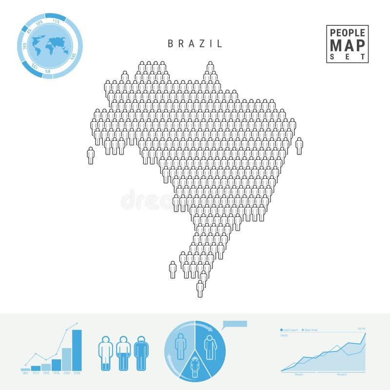 巴西人象地图 巴西的风格化传染媒介剪影 人口增长和老化Infographics 向量例证