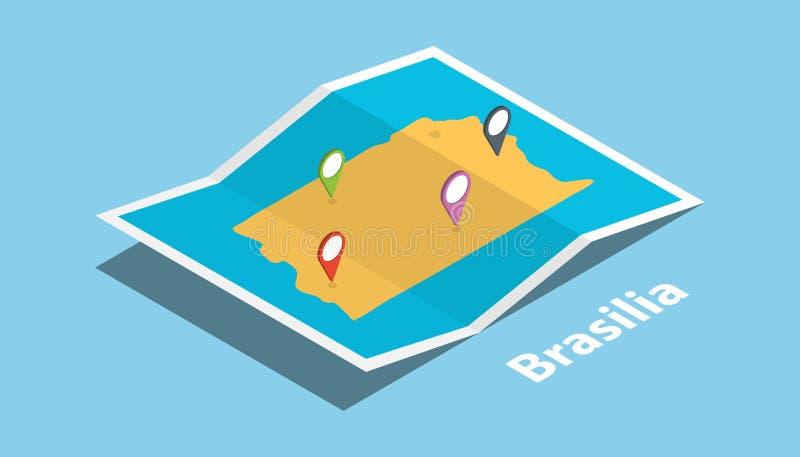 巴西利亚探索与等量样式的地图并且别住在上面的地点标记 皇族释放例证