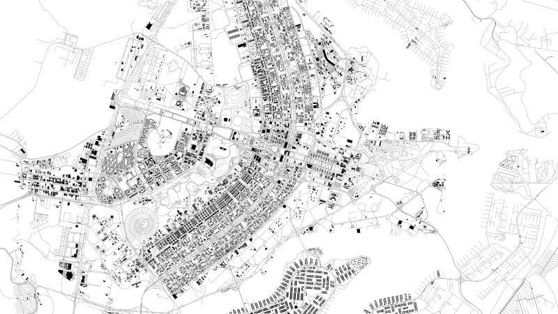 巴西利亚,巴西,城市街道卫星地图  皇族释放例证