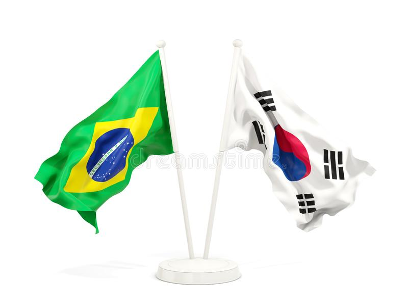 巴西和在白色隔绝的韩国两面挥动的旗子  皇族释放例证