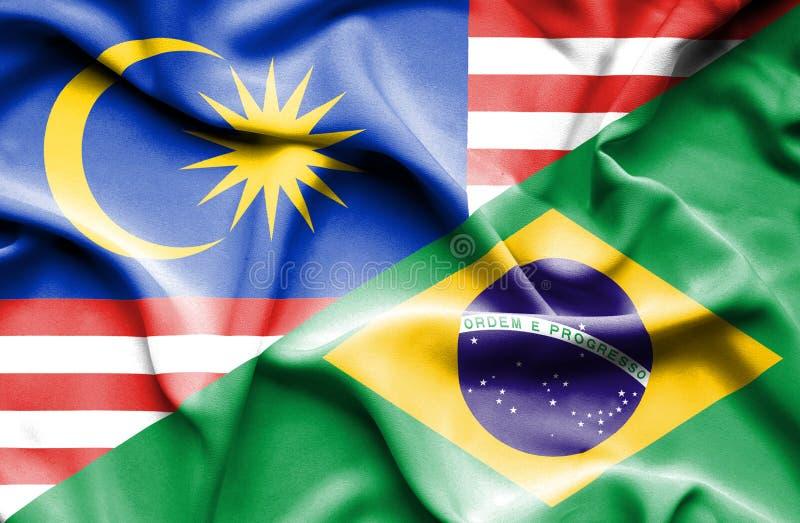 巴西和马来西亚的挥动的旗子 库存例证