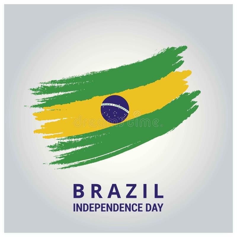巴西国旗在刷子冲程摘要背景中 皇族释放例证