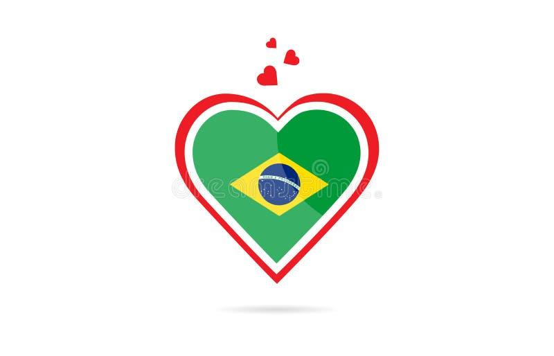 巴西在爱心脏创造性的商标设计里面的国旗 皇族释放例证