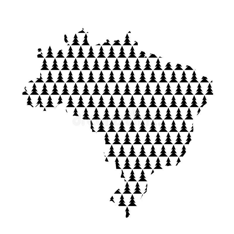巴西地图从黑新年快乐树12月的摘要概要 向量例证