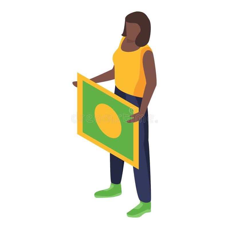 巴西妇女支持足球队员象,等量样式 库存例证