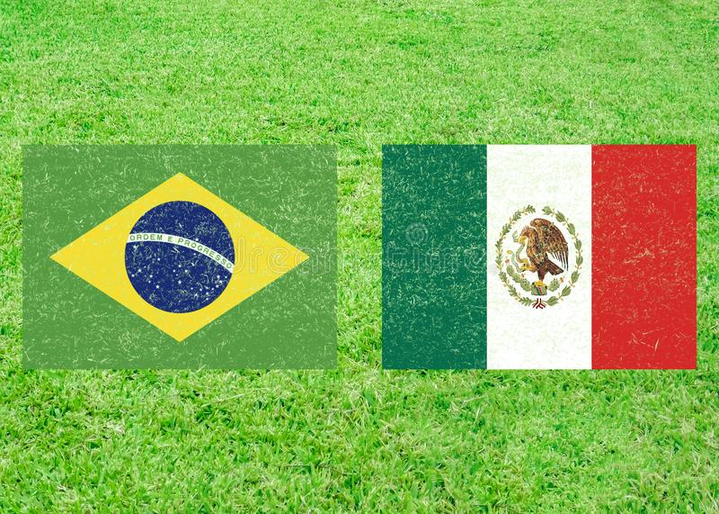 巴西对墨西哥体育背景 库存例证