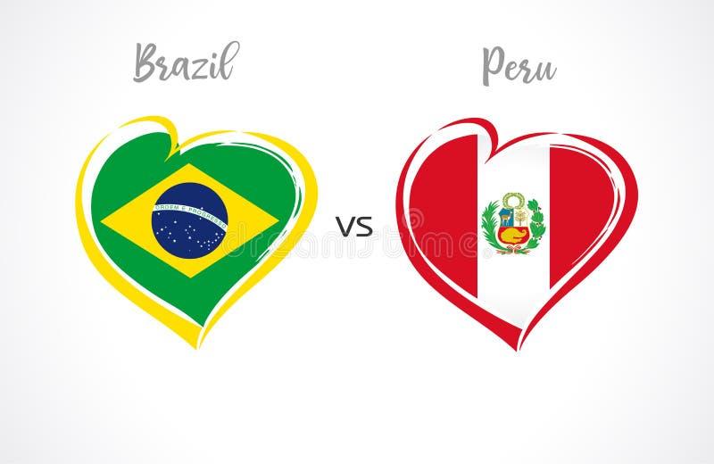 巴西对秘鲁,在白色背景的国家队旗子 向量例证
