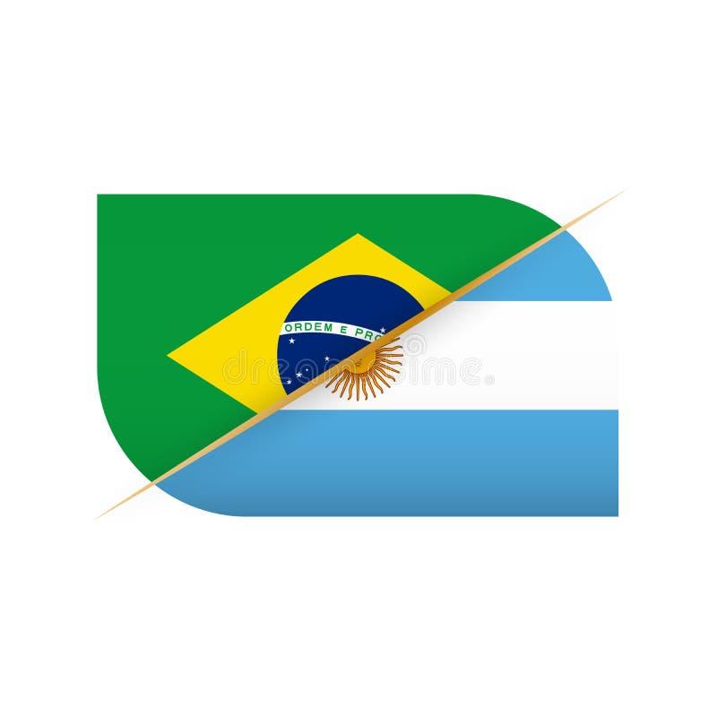 巴西对阿根廷,体育竞赛的两面传染媒介旗子象 库存例证