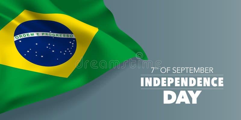 巴西愉快的独立日贺卡,与模板文本传染媒介例证的横幅 库存例证