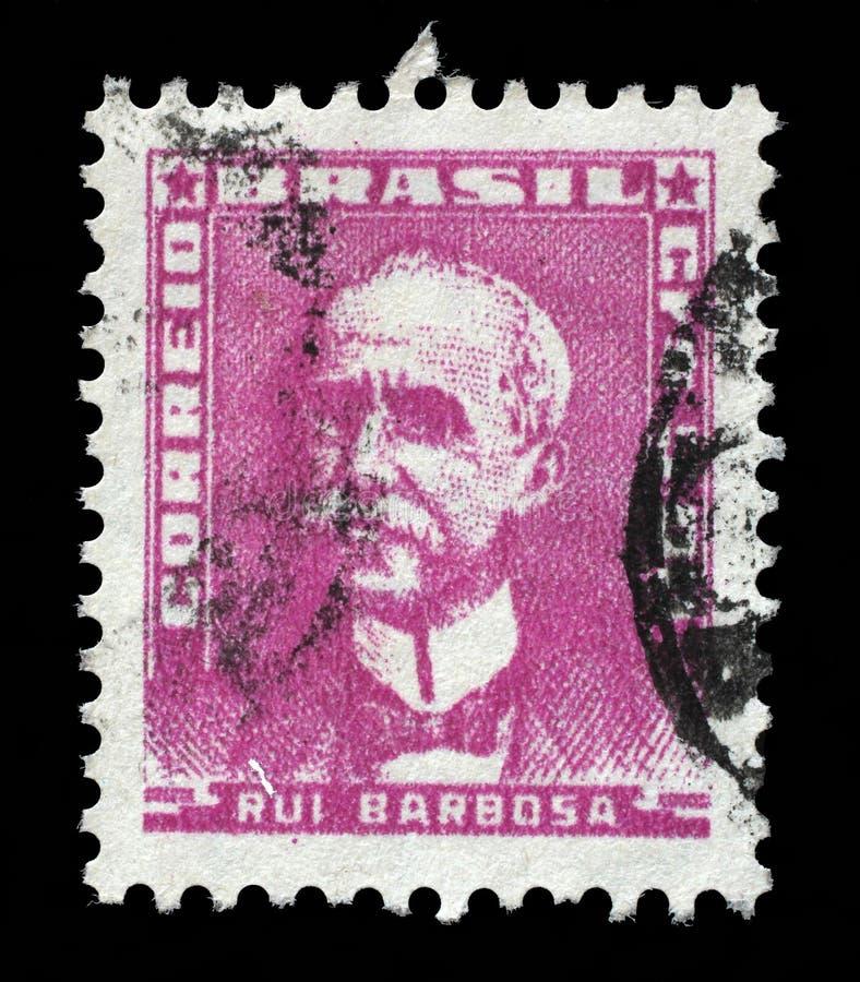 巴西打印的邮票,展示Ruy巴尔博萨 免版税图库摄影
