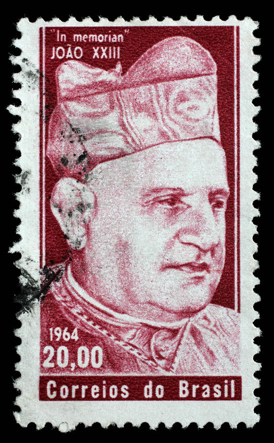 巴西打印的邮票 在memoriam若望二十三世 免版税库存照片