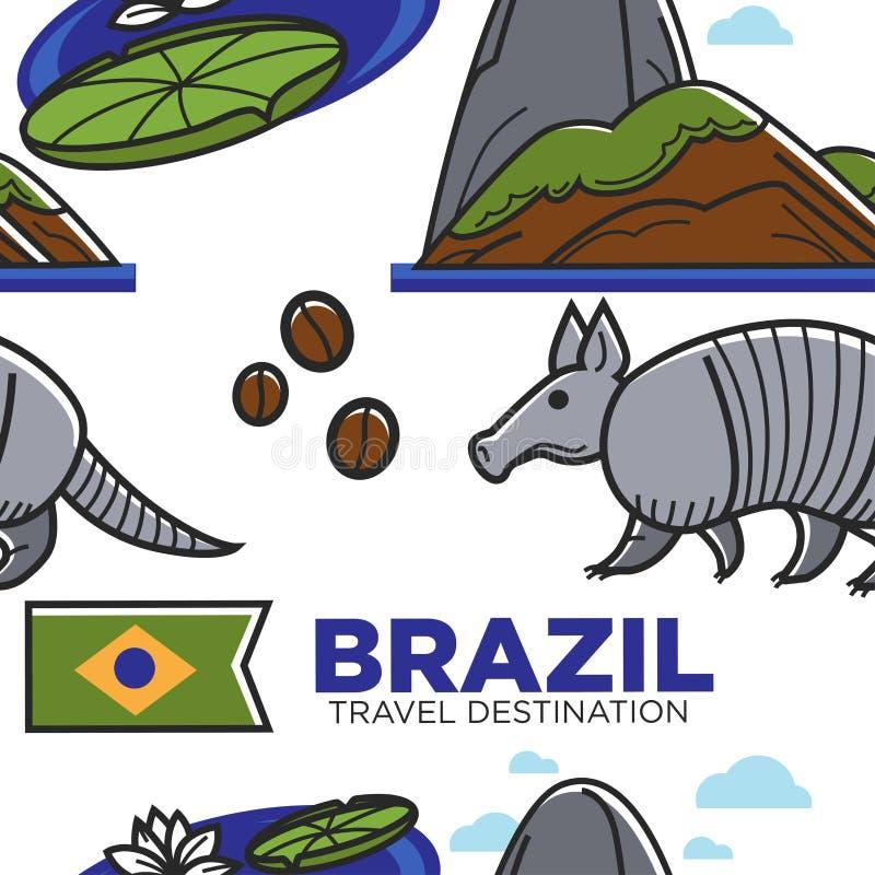 巴西旅行目的地无缝的样式巴西标志 向量例证