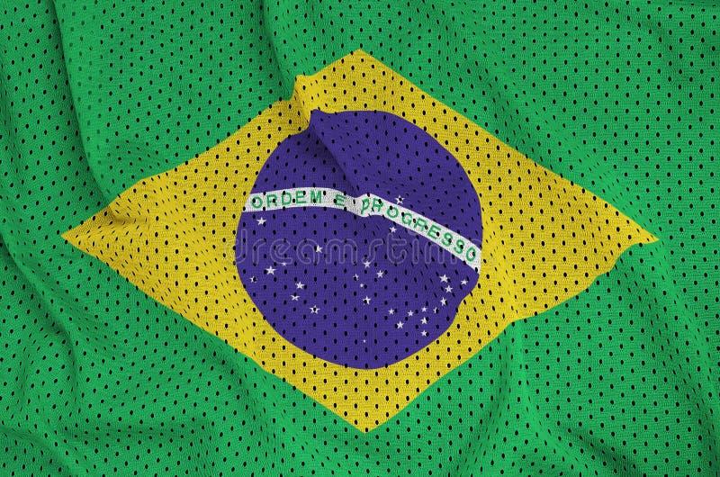 巴西旗子在聚酯尼龙运动服网眼织物打印了 向量例证