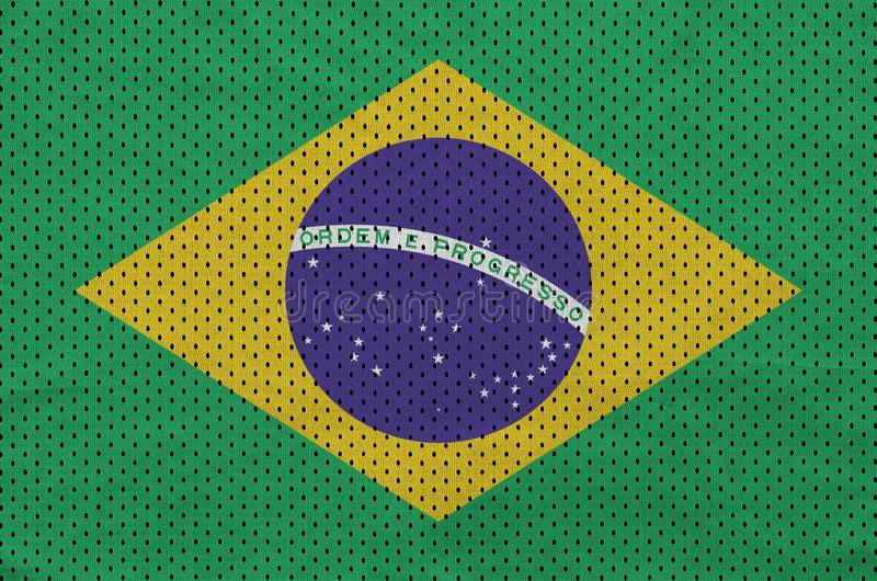 巴西旗子在聚酯尼龙运动服网眼织物打印了 库存例证
