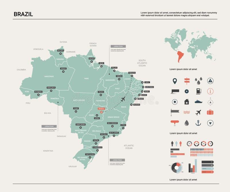 巴西映射向量 与分裂、城市和首都巴西利亚的高详细的国家地图 政治地图,世界地图, 向量例证