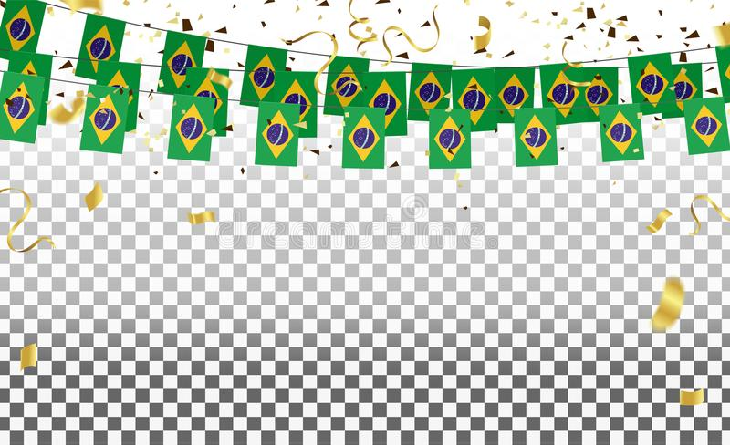 巴西有五彩纸屑的旗子和巴西气球诗歌选在白色 向量例证