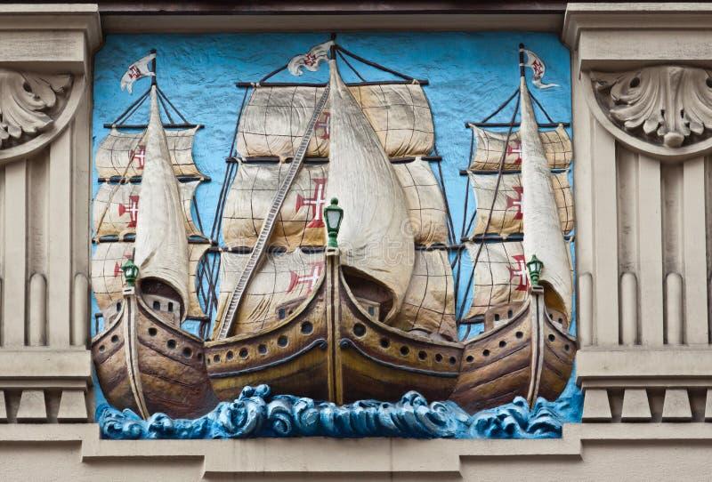 巴西板刻galleons葡萄牙桑托斯 库存图片