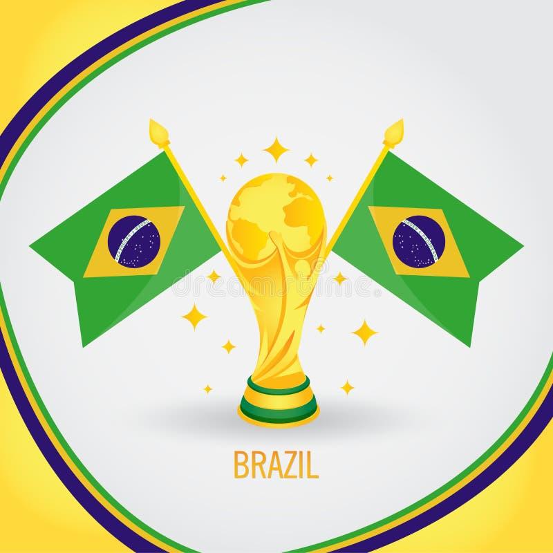 巴西橄榄球冠军世界杯2018年-旗子和金黄战利品 皇族释放例证