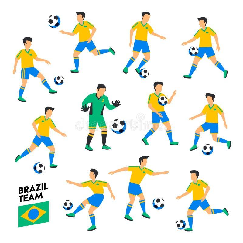 巴西橄榄球队 巴西足球运动员 充分的橄榄球队, 11个球员 不同的位置的足球运动员 皇族释放例证