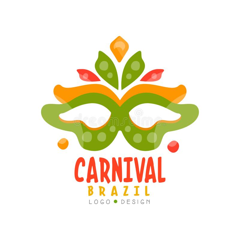 巴西狂欢节商标设计、明亮的欢乐党横幅或者海报与面具传染媒介例证在白色背景 皇族释放例证