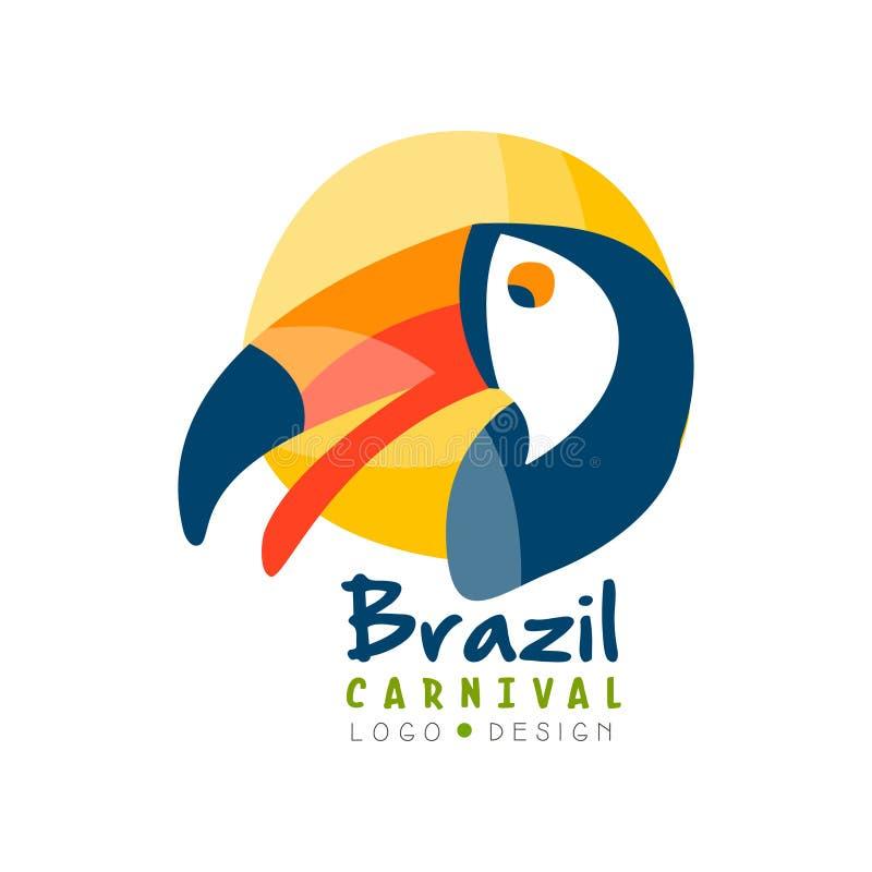 巴西狂欢节商标设计、明亮的欢乐党横幅或者海报与toucan鸟传染媒介例证在白色 向量例证