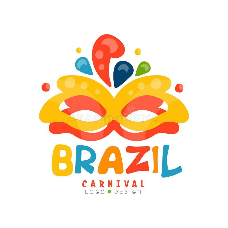 巴西狂欢节商标设计,与党面具传染媒介例证的五颜六色的欢乐横幅在白色背景 皇族释放例证