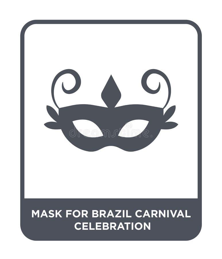 巴西狂欢节庆祝象的面具在时髦设计样式 巴西狂欢节在白色隔绝的庆祝象的面具 皇族释放例证