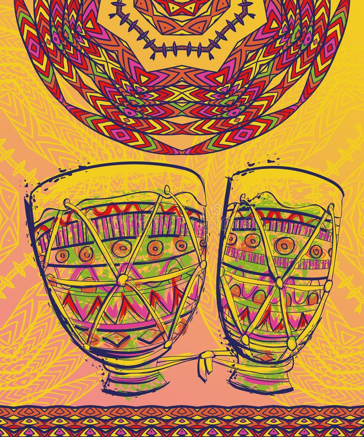 巴西狂欢节海报的,横幅,飞行物,招贴,小册子模板设计 鼓tam tam与在水彩样式飞溅 皇族释放例证