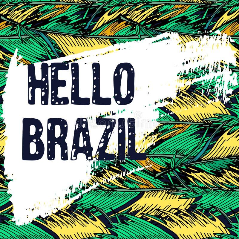 巴西狂欢节海报的,贺卡,党邀请,横幅手拉的多色热带背景和难看的东西纹理 库存例证