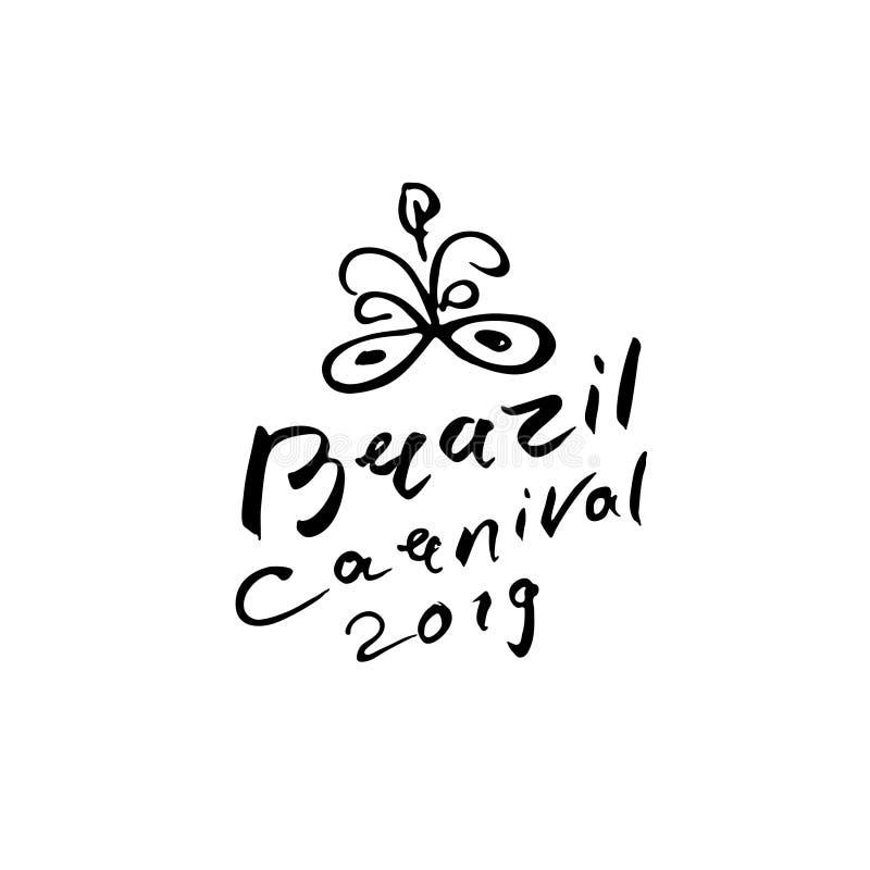 巴西狂欢节2019传染媒介商标 手写的题字和美好的面具与羽毛 向量例证