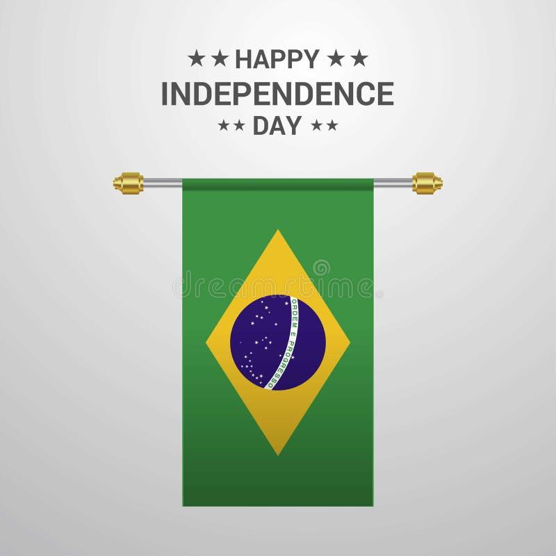 巴西独立日垂悬的旗子背景 皇族释放例证