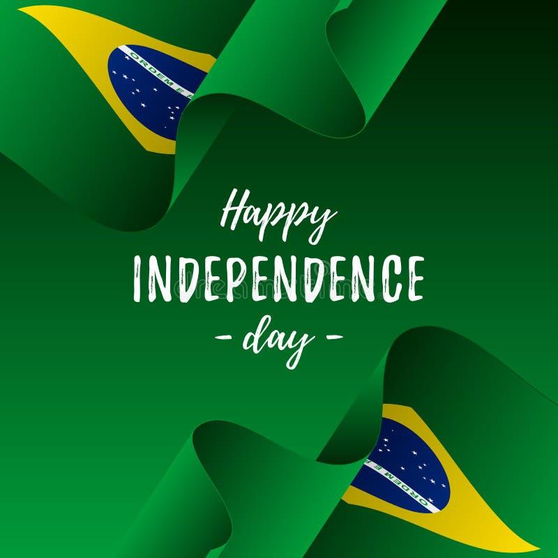 巴西独立日庆祝横幅或海报  可用的巴西标志玻璃样式向量 也corel凹道例证向量 皇族释放例证
