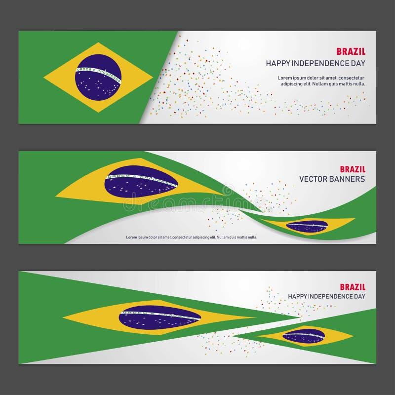 巴西独立日摘要背景设计横幅和fl 向量例证