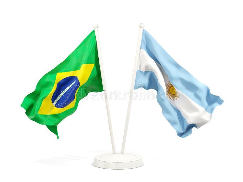 巴西的两面挥动的旗子和argentinaisolated在白色 皇族释放例证