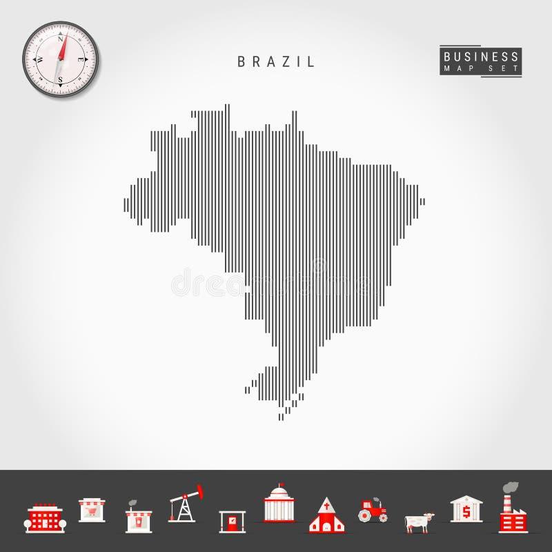 巴西的传染媒介垂直线地图 巴西的镶边剪影 现实指南针 r 库存例证