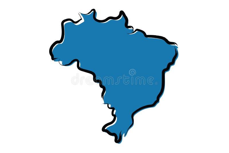 巴西的风格化蓝色略图 向量例证
