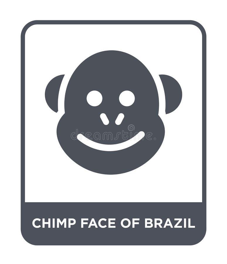 巴西象的黑猩猩面孔在时髦设计样式的 在白色背景隔绝的巴西象的黑猩猩面孔 巴西的黑猩猩面孔 向量例证