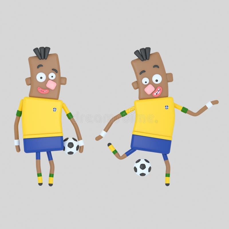 巴西足球运动员 3d例证 库存例证