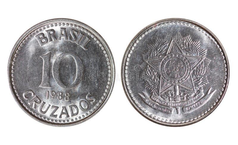 巴西金属货币, 10有十字架花样的银币,年1988年 库存图片