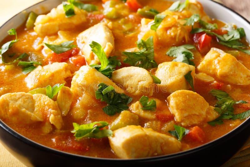 巴西食物:博博与菜的鸡汤在椰子米尔 免版税库存图片
